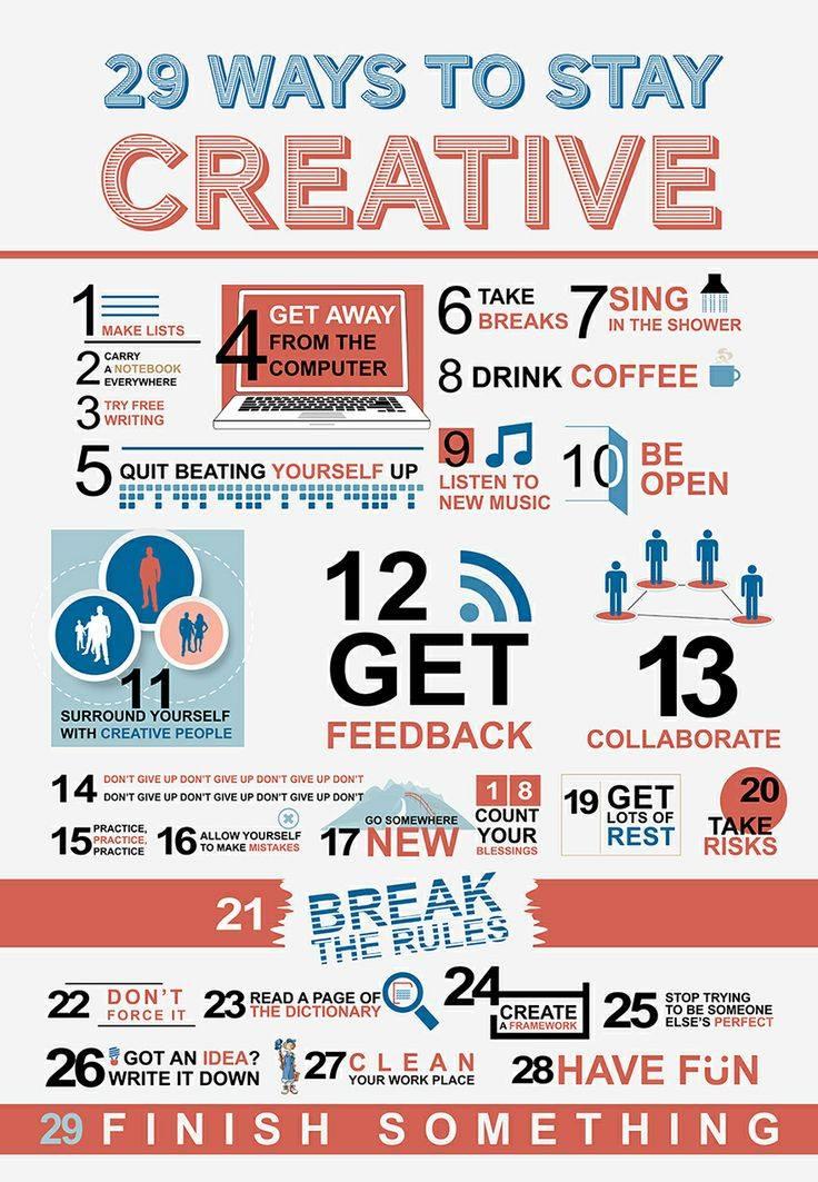 29 วิธีทำตัวให้ครีเอทีฟตลอดเว! 29 ways to stay creative ความคิดสร้างสรรค์
