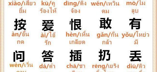 คำศัพท์ภาษาจีน หมวดคำกริยา